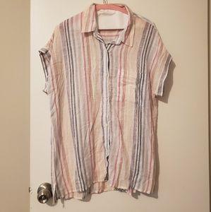 Striped oversized linen shirt